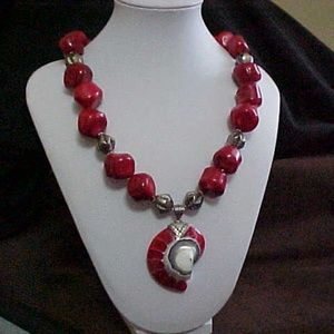 Coral, Pewter & Mother of Pearl Necklace